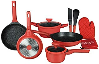Chef's Star Nonstick Pots and Pans Cookware Set - Professional Grade Die Cast Aluminum, Compatible with All Cooktops and D...
