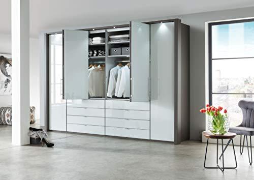 WIEMANN Loft Kleiderschrank, Schlafzimmerschrank, Gleittürenschrank, Drehtürenschrank, mit Schubladen, Glas weiß, Havanna, B/H/T 300 x 236 x 58 cm