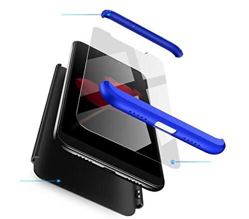 BIKANA Funda Compatible para Xiaomi Redmi Note 5/5Pro Carcasa[2*Cristal Templado] 3 in 1 Slim 360°Full-Protección PC Rígide Textura Mate Antideslizante Anti-caída Caso Cover-Azul Negro