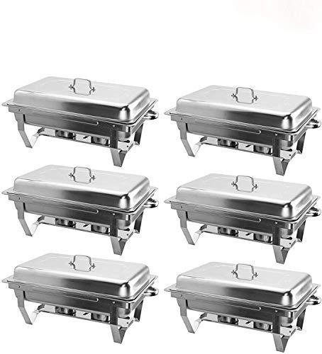 VONLUCE 6 Platos de Frotamiento 9L/8Q de Acero Inoxidable Calentador de Buffet Plegable Calentador de Comida con Bandeja de Agua, Bandeja de Comida y Tapa para Fiesta, Banquete, Bufé (6)