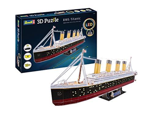 Revell 3D Puzzle 00154 das wohl berühmteste Schiff, RMS Titanic mit LED-Beleuchtung Die Welt in 3D entdecken, Bastelspass für Jung und Alt, farbig