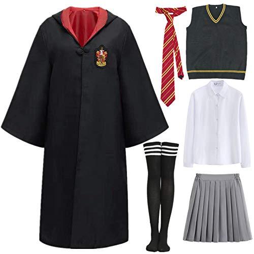 Ramonala Magic Academy Cloak Costume Set Niños Adultos Hembra Disfraz Capa Fan Artículo Conjunto de Atuendo Toga mágica de Mago Halloween Carnaval Cosplay Disfraz Navidad Fiesta Mascarada Accesorios