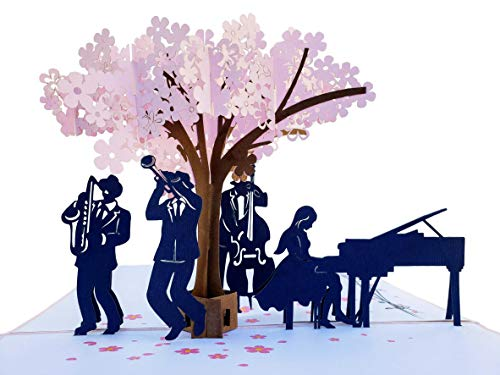 iGifts And Cards Smooth Jazz Band 3D Pop Up Greeting Card - Music Lovers, Awesome, Under a Cherry...