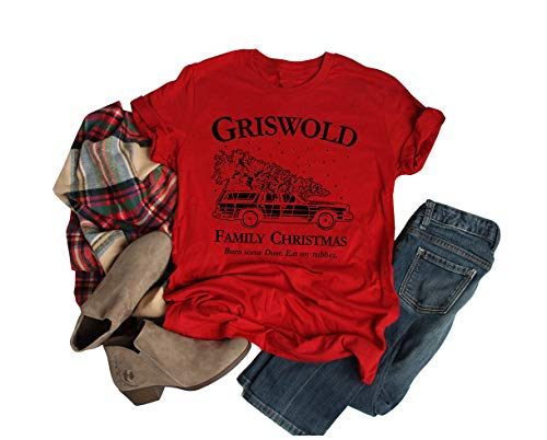 Christmas Vacation Shirt Women Griswold Family Cute Tops for Womens Tshirts (XL, Red)
