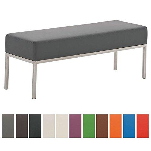 CLP 3er-Sitzbank Lamega Kunstleder I Moderne Sitzbank Mit Polsterung Und Edelstahlgestell I In Vielen Farben, Farbe:grau