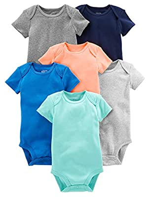 Simple Joys by Carter's Baby Boys' 6-Pack Short-Sleeve Bodysuit, Solid, Newborn