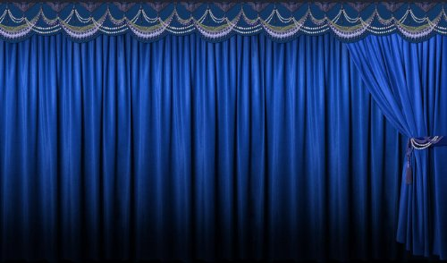 P160204-0 Foto-Tapete Vlies-Wandbild Theatervorhang Kinovorhang blau