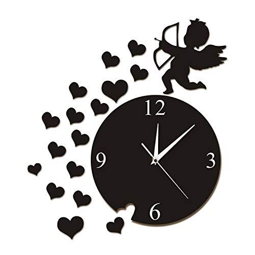 hufeng Reloj de pared Cupido Flecha Corazones Querubín Ángel Arte de la Pared Decoración del Hogar Moderno Reloj de Pared Flying Cupido Amor Ángel Reloj de Pared Decorativo Regalo