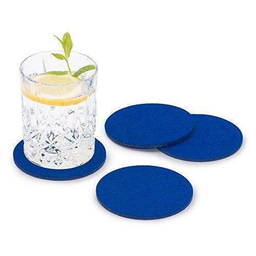FILU Filzuntersetzer rund 8er Pack (Farbe wählbar) blau - Untersetzer aus Filz für Tisch und Bar als Glasuntersetzer/Getränkeuntersetzer für Glas und Gläser
