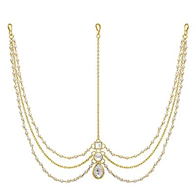 Amaal Hair Jewellery Traditional Bridal Gold Pearl Chain Mathapatti Necklace Maang Tikka Tika Teeka Jewellery Set for Women Girls Latest- Maang Tikka-A7108