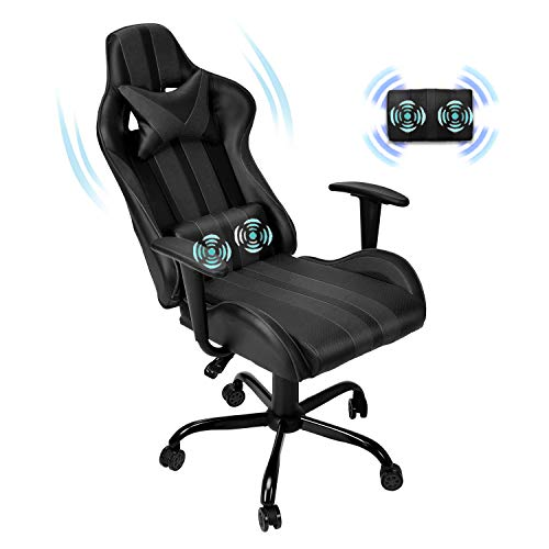 Ferghana Massage PC Computer Chair,Gaming Chair ,Video Game Chair, Ergonomic Office Chair, Racing Executive PU Leather Desk Chair with Lumbar Support Headrest Armrest Task Rolling Swivel Chair (Black)