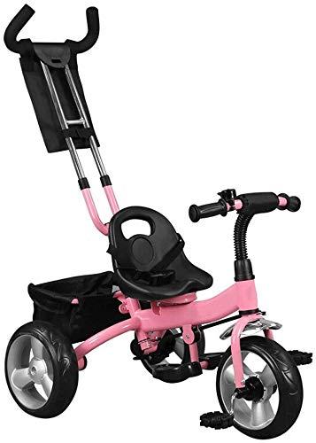 WLD kinderen 'S trainingsvoertuig kinder' S driewieler kinderwagen kinderfiets kinderfiets multifunctioneel licht dubbele putter veiligheidsgordel verhoog opbergmand 3 kleuren opties roze