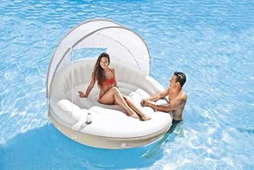 Aufblasbare Badeinsel Wasser Luftmatratze Insel Schwimmmatratze Liege Badematratze Schwimmliege mit Sonnendach Sonnenschutz Getränkehalter für Pool See Meer 200x150 cm Groß