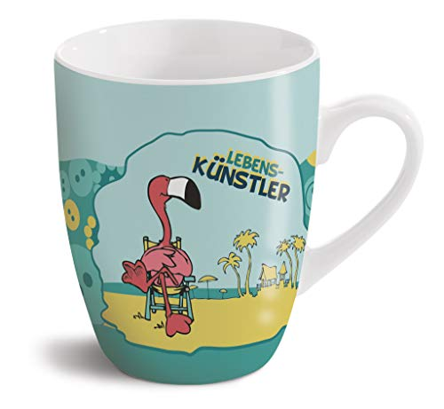 NICI 42642 Fancy Mugs Porzellantasse Flamingo Lebenskünstler, 8 x 10 cm, aus Porzellan