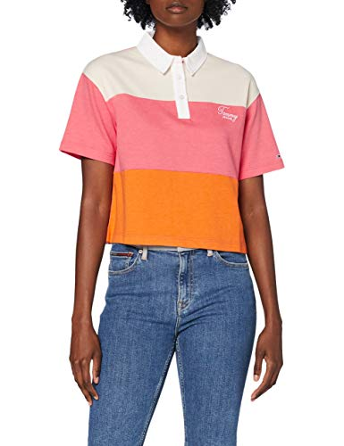 Tommy Hilfiger Tjw Colorblock Logo Polo Camisa, Orange, XL para Mujer