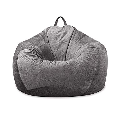 MFTEK Bean Bag Chair Cover Only, Large Washable Memory Foam Furniture Bean Bag with Wash Bag, Without Bean Filling, 43.3''×43.3''×47.2''(Gray)