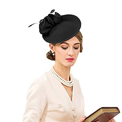 F FADVES Wedding Wool Pillbox Fascinators Felt Fedora Hats Women Flower Derby Church Tilt Hat