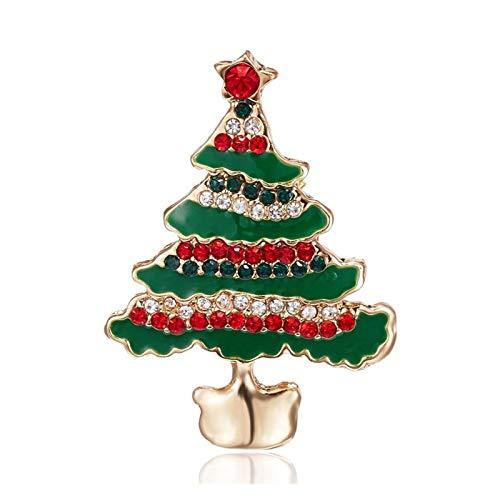 LNSTORE Damen-Weihnachtsbaum-Brosche Strass eingelegte Art und Weise Schmuck Festival Brosche Brosche Geschenk Winterjacke Hut Brosche Modisch (Metal Color : 2)