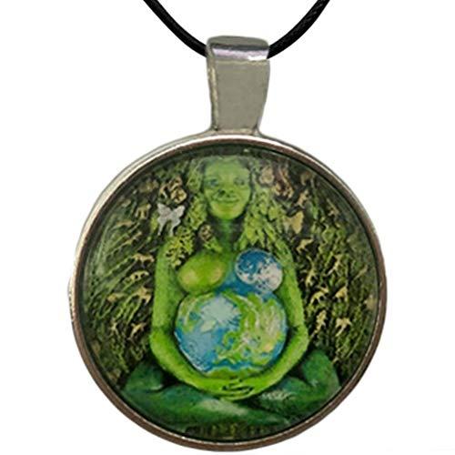 CZSMART Yagerod - Collar con colgante de estatua de la madre tierra, diseño de la estatua de Gaia milenaria de la Tierra Gaia milenaria madre diosa Te Fiti