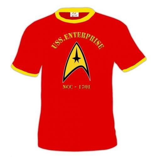 Camiseta Star Trek Logo Entreprise -Roja (Talla: Talla XXL Unisex Ancho/Largo [60cm/75cm] Aprox])