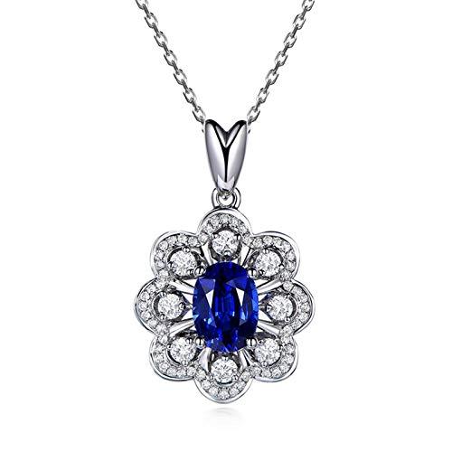 AueDsa Collar de Mujer Plata Azul Collar Mujer Oro Blanco 18K Flor con Oval Zafiro Azul Blanco 1.55ct