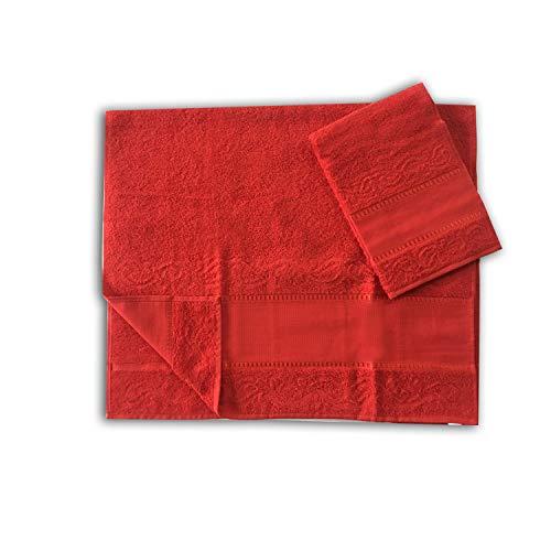 Panini Tessuti Set/Paar Handtücher groß und klein. Leinwand Aida 9 cm für Stickerei 100% Baumwolle Made in Italy rot
