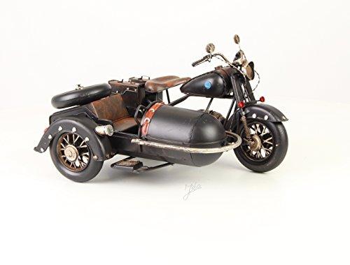 Deko Blech Motorrad mit Beiwagen Modell Retro Vintage Nostalgie Länge 32,1 cm