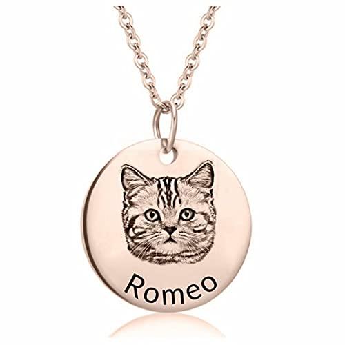 Collar de mascota personalizado Imagen de perro gato personalizada con colgante de nombre Joyería...