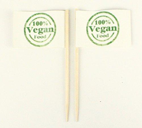 Buddel-Bini Party-Picker Flagge 100% Vegan Food Papierfähnchen in Profiqualität 50 Stück Beutel Offsetdruck Riesenauswahl aus eigener Herstellung