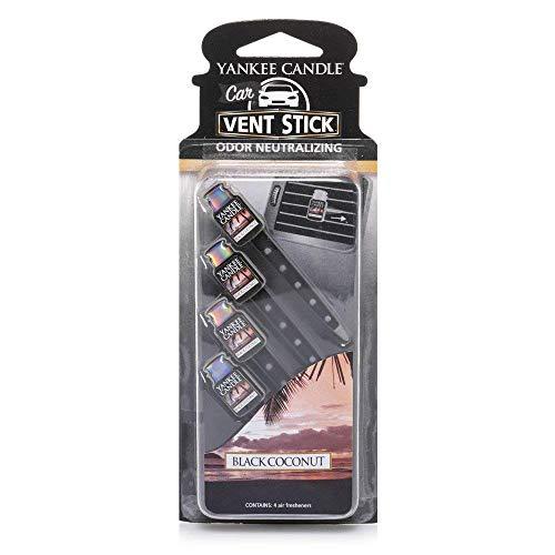 YANKEE CANDLE 5038580059793 Car Vent Stick Profumatore per Auto, Black Coconut, Confezione da 4 Pezzi, Noce di Cocco Nera, 4 x 7.5 x 16.5 cm