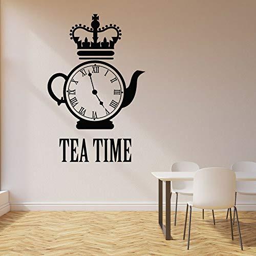 Hora del té calcomanía de pared reloj hervidor restaurante decoración de interiores tienda de postres relax vinilo etiqueta de la pared ventana arte mural