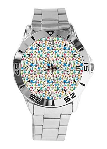 Rainbow - Reloj de pulsera para motocicleta, scooter, cuarzo, esfera plateada clásica, correa de acero inoxidable, reloj de mujer