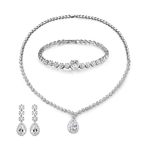 MASOP Bling Crystal Bridal Wedding Jewelry Sets for Women Short Necklace Bracelet Dangle Earrings