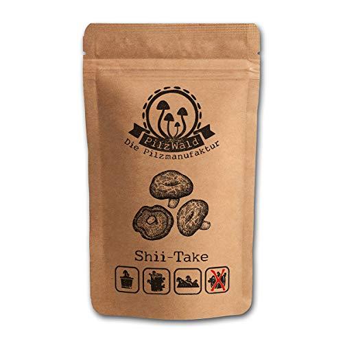 PilzWald Shiitake Pilze züchten auf Holz & Holzstämmen - ausführliche Anleitung - Pilzzucht für Anfänger - 25 Pilzdübel Pilzbrut Haus & Garten