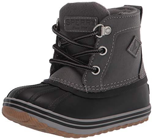 Sperry Bowline Boot Rain, Grey/Black, 4 US Unisex Big Kid