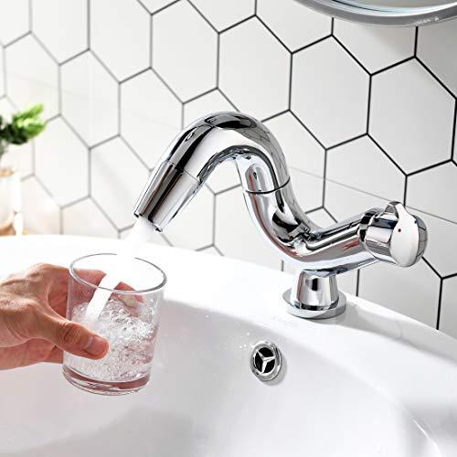 Aimadi Design Mischbatterie Bad Wasserhahn Badarmatur Waschtischarmatur Waschbeckenarmatur Waschbecken Badezimmer Chrom - 7