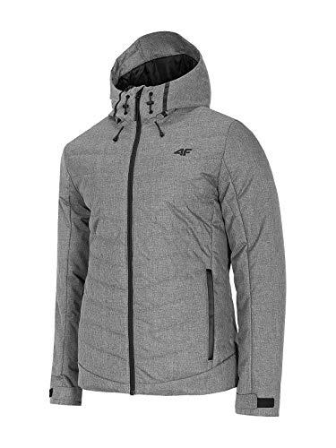 4F Herren Übergangsjacke | Daunenjacke in Grau | Kapuzenjacke Outdoor | Warme Jacke für Herbst KUM005 (Grau, XL)