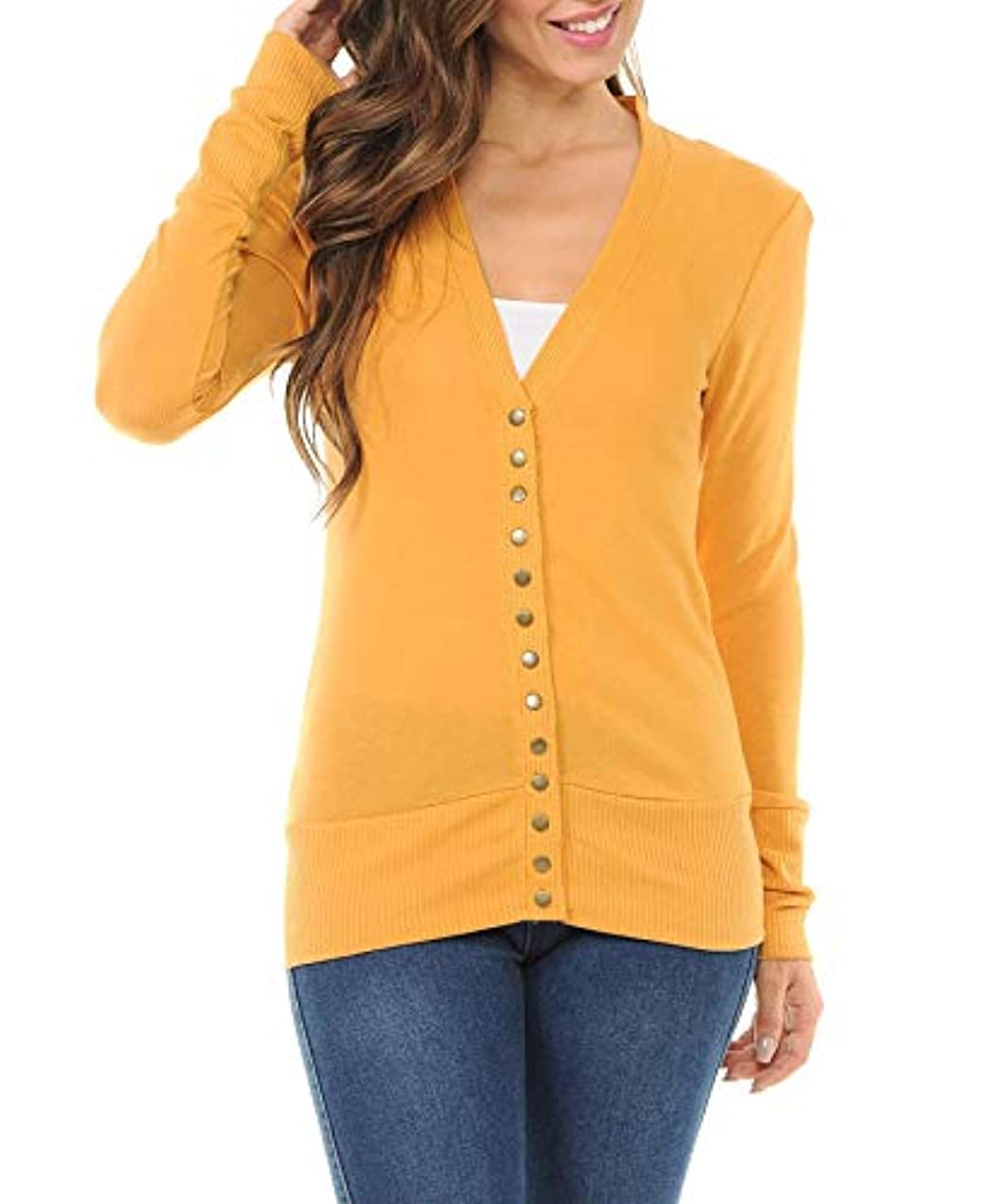 ClothingAve. Women's Snap Button Sweater Cardigan with Ribbed Detail