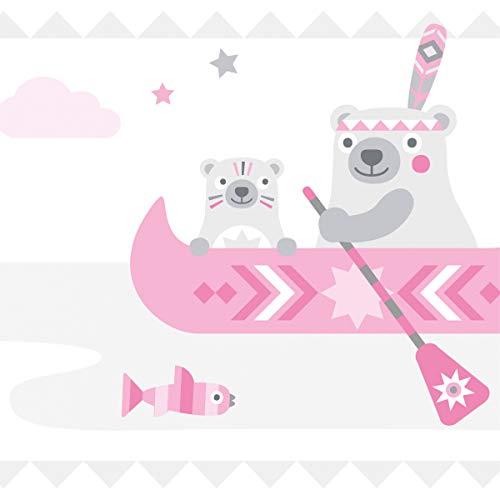 anna wand Bordüre selbstklebend LITTLE INDIANS ROSA/GRAU - Wandbordüre Kinderzimmer / Babyzimmer mit Indianermotiven und Tieren - Wandtattoo Schlafzimmer Mädchen und Junge, Wanddeko Baby / Kinder