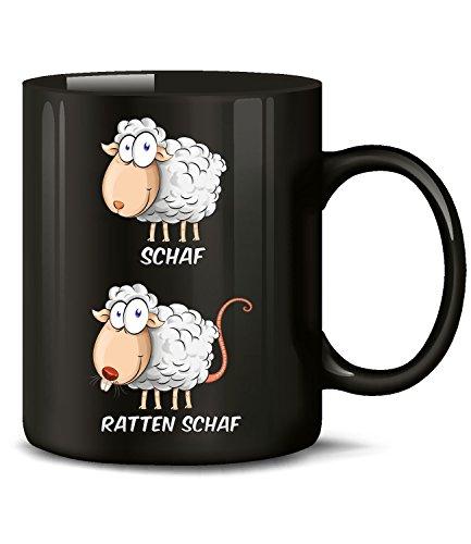 Golebros Schaf Ratten Schaf 5954 Wortspiel Zweideutig Fun Tasse Spruch Lustig Weihnachten Frau Geschenk Geburtstag Büro Arbeit Becher Kaffeetasse Schwarz