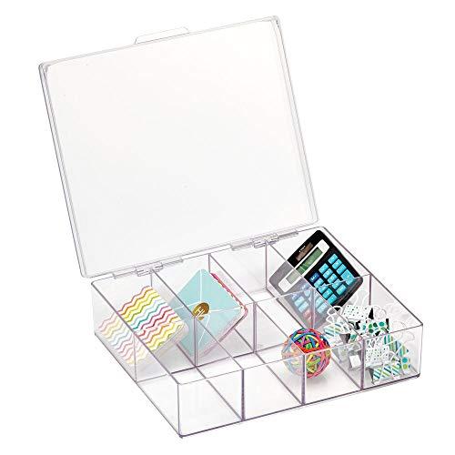 mDesign Práctica caja con divisiones cuadrada para material de oficina y papelería – Caja para guardar lápices y accesorios – Organizador de escritorio con 8 compartimentos – transparente