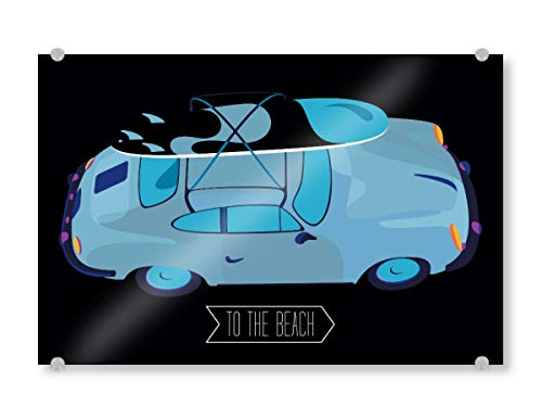 artboxONE Acrylglasbild 90x60 cm Reise to The Beach Bild hinter Acrylglas - Bild Porsche car Motor
