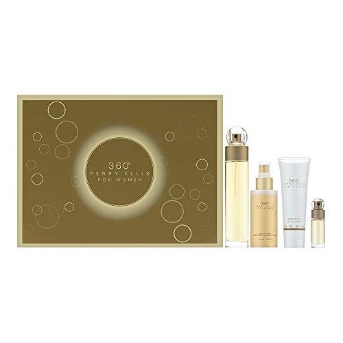 perry ellis 360 by Perry Ellis Gift Set - 3.4 oz Eau De Toilette Spray + 4 oz Body Mist + 3 oz Shower Gel + .25 Mini EDT Spray / - (Women)