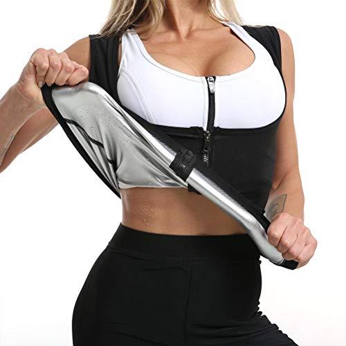StyleBest Chaleco de Sudor de Sauna para Mujer Corsé de Neopreno Caliente Entrenador de Cintura Traje de Sauna Camiseta sin Mangas Cremallera Pérdida de Peso Body Shaper Camisa de Entrenamiento