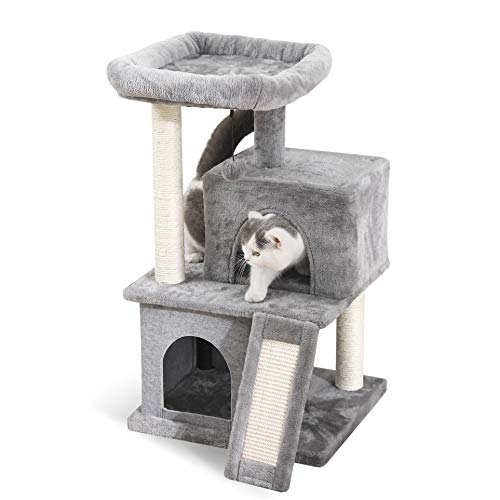 PAWZ Road Cat Tree Luxury Cat Tower with Double Condos, Spacious Perch, Fully Wrapped Scratching Sisal Post and Replaceable Dangling Balls Gray