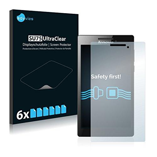 Savvies 6X Schutzfolie kompatibel mit Lenovo Tab 2 A7-30 (nur Kamera rechts) Bildschirmschutz-Folie Ultra-transparent