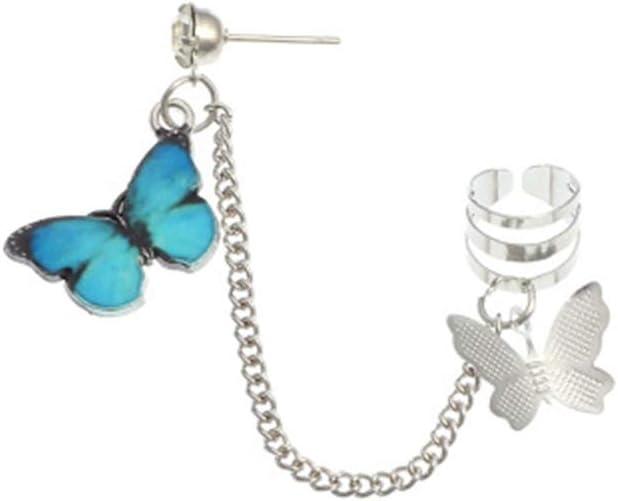 MileHouse prettDliJUN 1Pc Punk Style Butterfly Dangle Ear Cuff Clip Chain Ear Stud Earring Women's Jewelry Blue