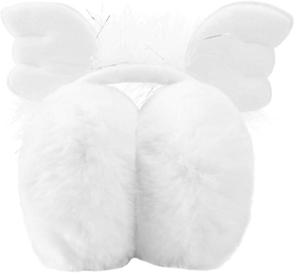 VALICLUD Kids Girls Cute Earmuffs Outdoor Winter Warmer Plush Earmuffs Ear Warmers Headband with Wings White