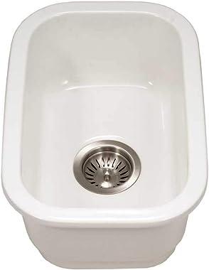 Houzer PTB-1318 WH Fireclay Bar Sink, White