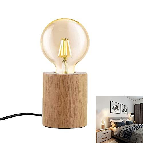 Lampe aus Altholz Massivholz Tischleuchte runden E27 LED Holz Tischlampe Retro industrial Dekoleuchte kreativ Einfachheit für Wohnzimmer Schlafzimmer Esszimmer Restaurant Gang Bett Büro
